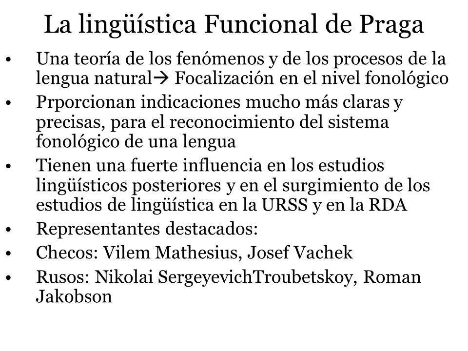 La lingüística Funcional de Praga Una teoría de los fenómenos y de los procesos de la lengua natural Focalización en el nivel fonológico Prporcionan i