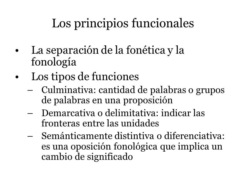 Los principios funcionales La separación de la fonética y la fonología Los tipos de funciones –Culminativa: cantidad de palabras o grupos de palabras