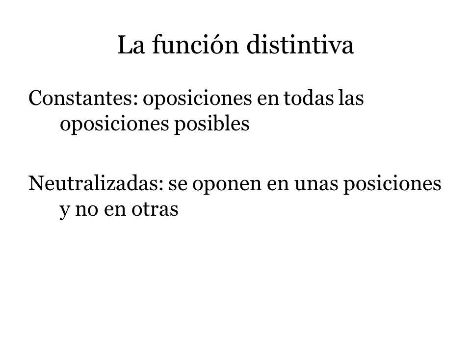 La función distintiva Constantes: oposiciones en todas las oposiciones posibles Neutralizadas: se oponen en unas posiciones y no en otras