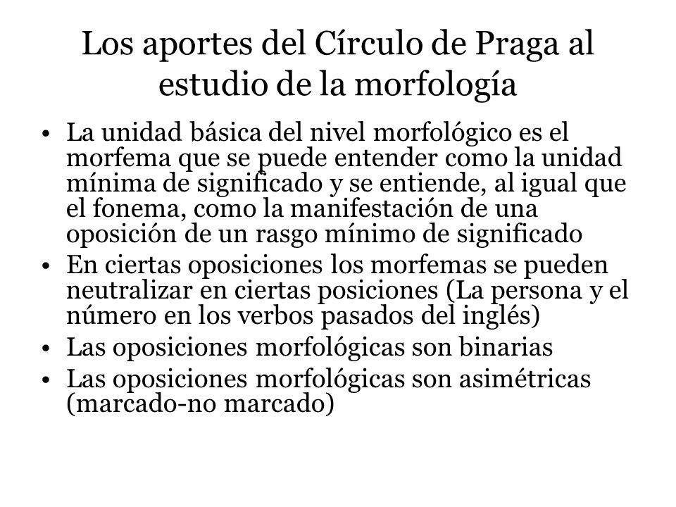 Los aportes del Círculo de Praga al estudio de la morfología La unidad básica del nivel morfológico es el morfema que se puede entender como la unidad