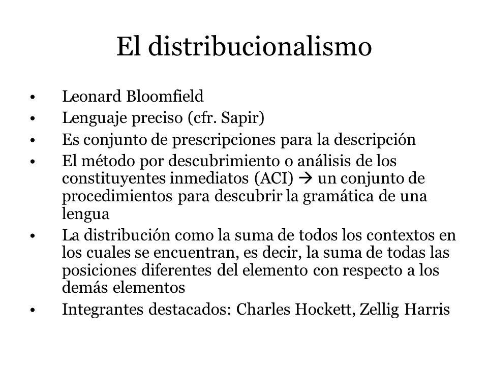 El distribucionalismo Leonard Bloomfield Lenguaje preciso (cfr. Sapir) Es conjunto de prescripciones para la descripción El método por descubrimiento