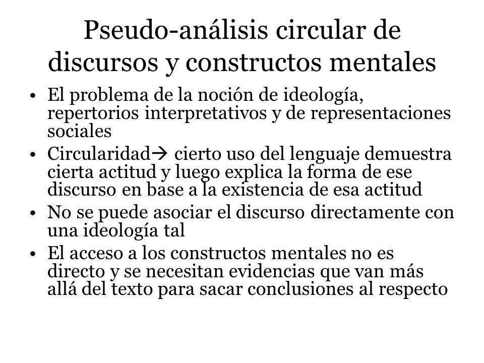 Pseudo-análisis por falsa generalización El problema de la generalización Saturación y estudios cuentitativos Los estudios de caso