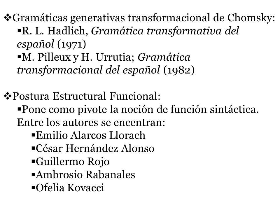 Gramáticas generativas transformacional de Chomsky: R. L. Hadlich, Gramática transformativa del español (1971) M. Pilleux y H. Urrutia; Gramática tran