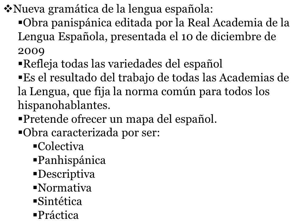 Nueva gramática de la lengua española: Obra panispánica editada por la Real Academia de la Lengua Española, presentada el 10 de diciembre de 2009 Refl