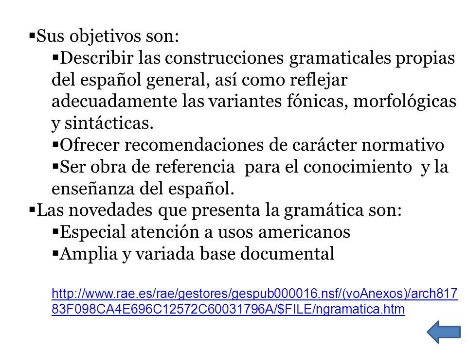 Sus objetivos son: Describir las construcciones gramaticales propias del español general, así como reflejar adecuadamente las variantes fónicas, morfo