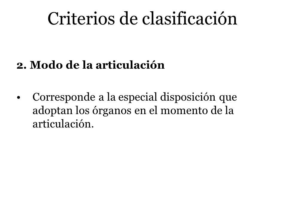 Criterios de clasificación 2. Modo de la articulación Corresponde a la especial disposición que adoptan los órganos en el momento de la articulación.