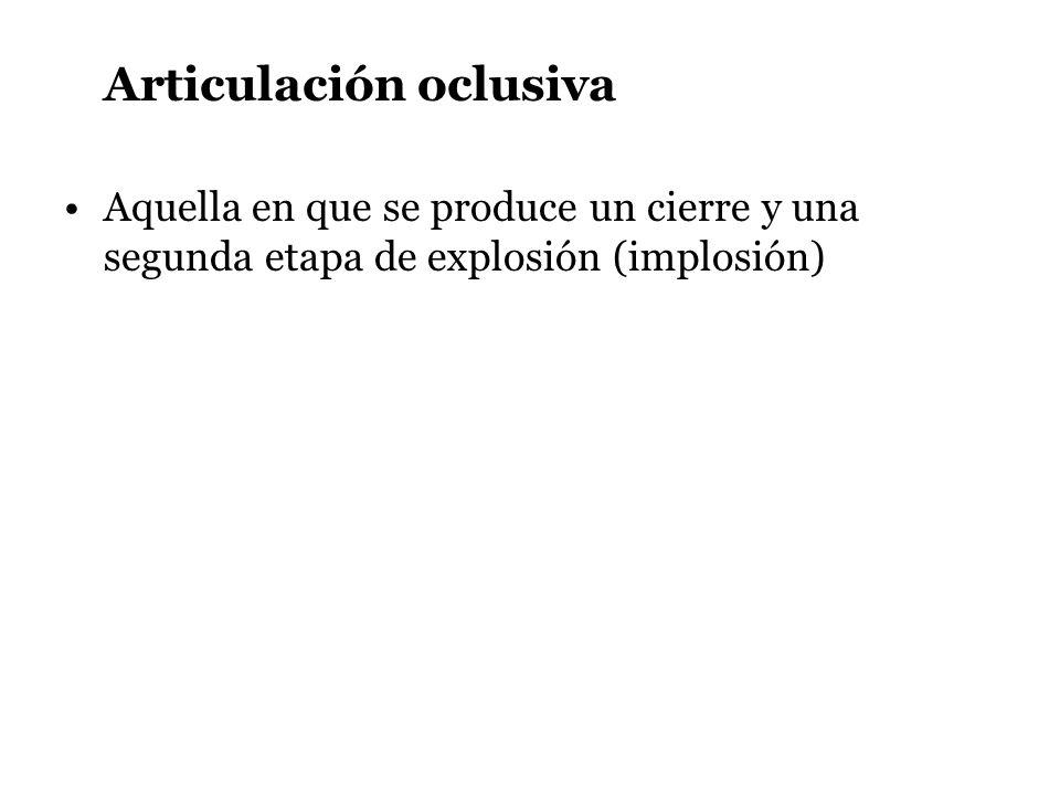 Articulación oclusiva Aquella en que se produce un cierre y una segunda etapa de explosión (implosión)