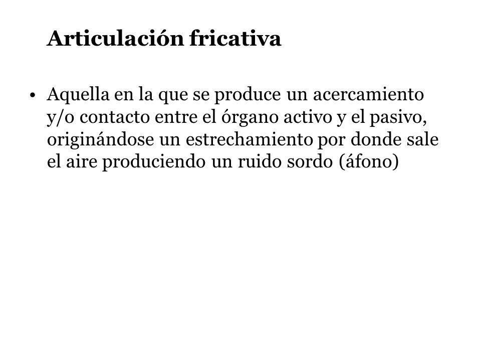 Articulación fricativa Aquella en la que se produce un acercamiento y/o contacto entre el órgano activo y el pasivo, originándose un estrechamiento po