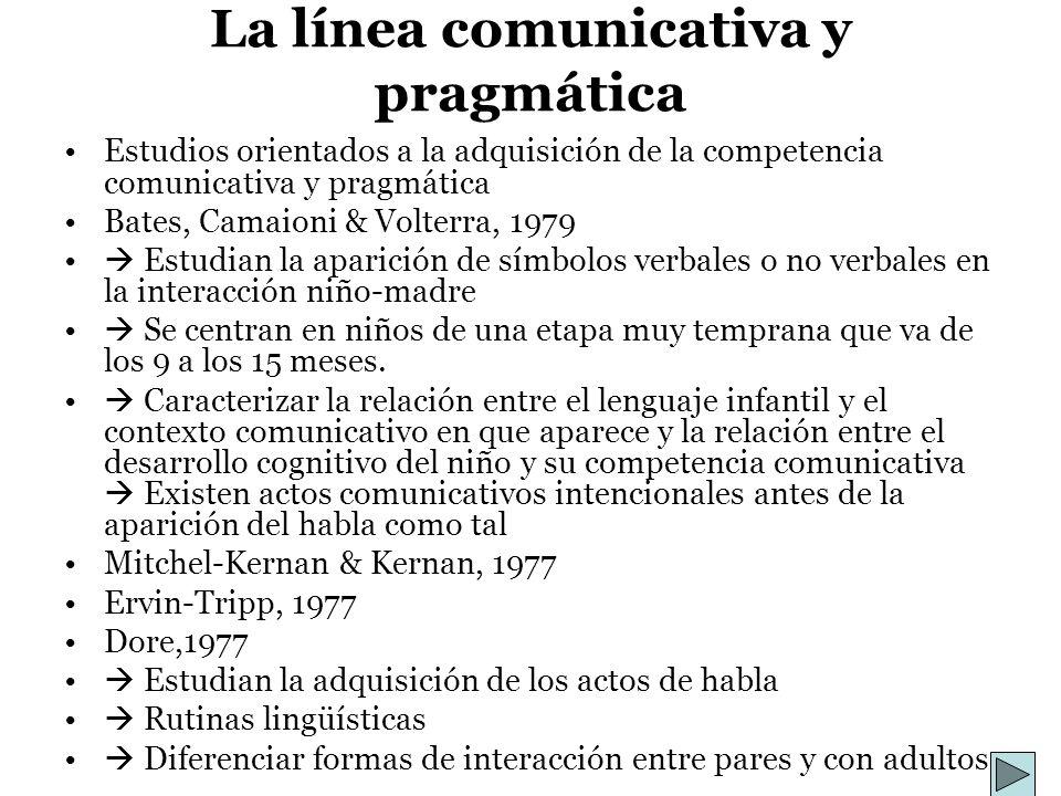 La línea comunicativa y pragmática Estudios orientados a la adquisición de la competencia comunicativa y pragmática Bates, Camaioni & Volterra, 1979 E