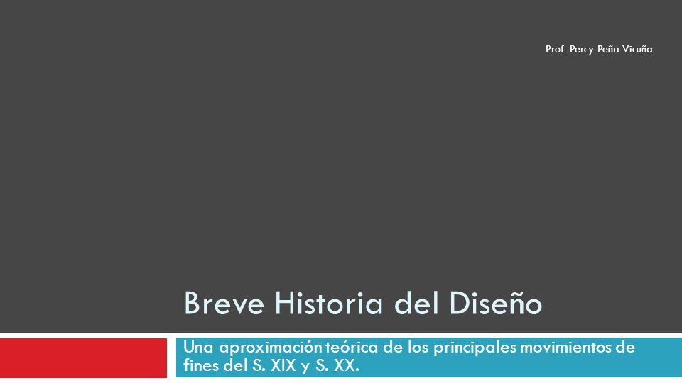 Breve Historia del Diseño Una aproximación teórica de los principales movimientos de fines del S. XIX y S. XX. Prof. Percy Peña Vicuña