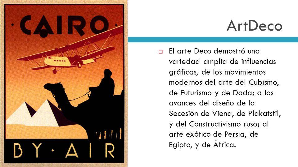 ArtDeco El arte Deco demostró una variedad amplia de influencias gráficas, de los movimientos modernos del arte del Cubismo, de Futurismo y de Dada; a