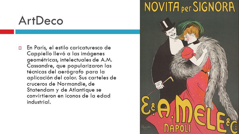 ArtDeco En París, el estilo caricaturesco de Cappiello llevó a las imágenes geométricas, intelectuales de A.M. Cassandre, que popularizaron las técnic