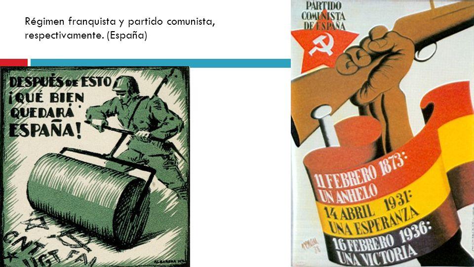 Régimen franquista y partido comunista, respectivamente. (España)