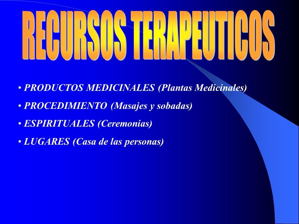 PRODUCTOS MEDICINALES (Plantas Medicinales) PROCEDIMIENTO (Masajes y sobadas) ESPIRITUALES (Ceremonias) LUGARES (Casa de las personas)