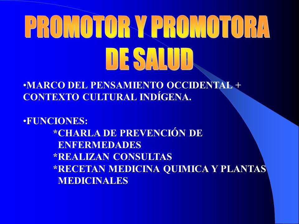 MARCO DEL PENSAMIENTO OCCIDENTAL + CONTEXTO CULTURAL INDÍGENA. FUNCIONES: *CHARLA DE PREVENCIÓN DE ENFERMEDADES *REALIZAN CONSULTAS *RECETAN MEDICINA