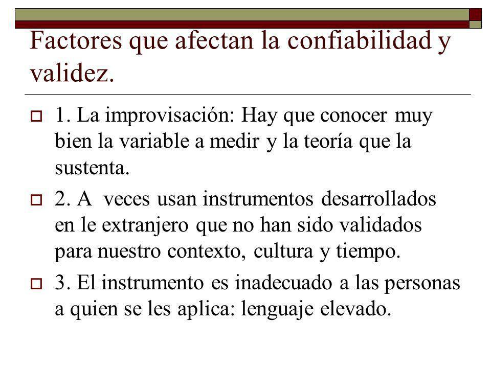 Factores que afectan la confiabilidad y validez. 1. La improvisación: Hay que conocer muy bien la variable a medir y la teoría que la sustenta. 2. A v