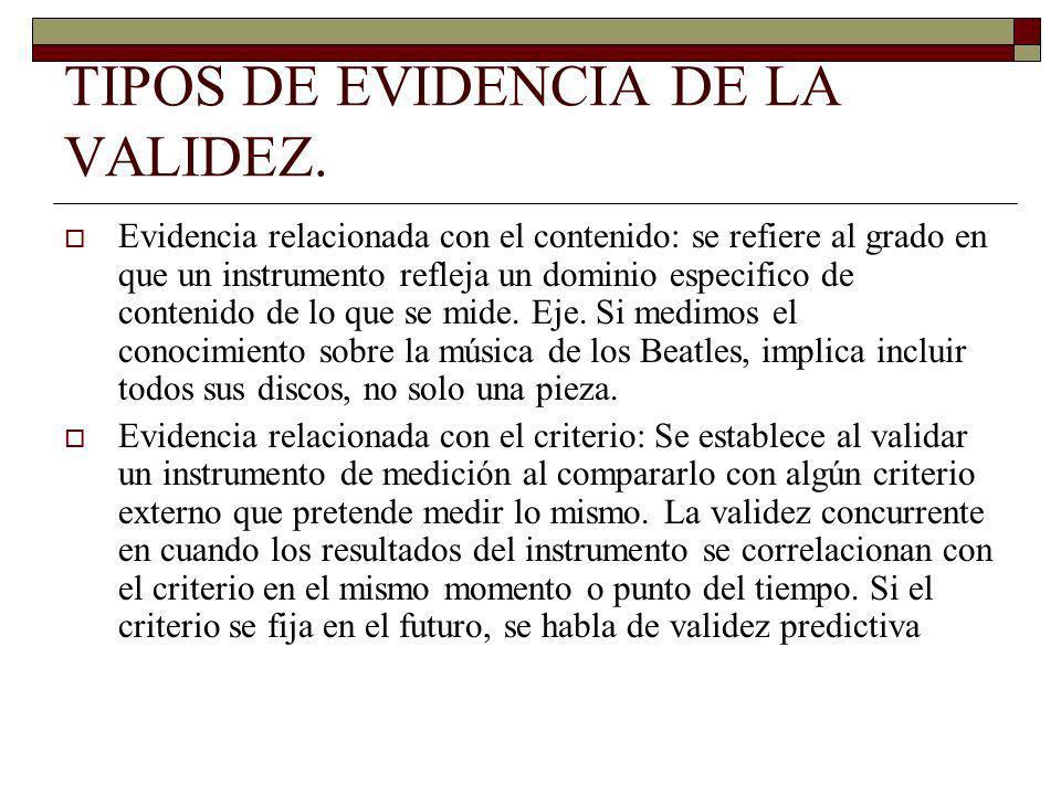 TIPOS DE EVIDENCIA DE LA VALIDEZ. Evidencia relacionada con el contenido: se refiere al grado en que un instrumento refleja un dominio especifico de c