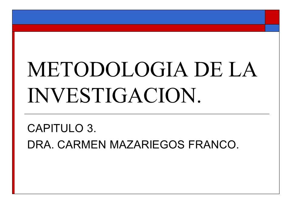 METODOLOGIA DE LA INVESTIGACION. CAPITULO 3. DRA. CARMEN MAZARIEGOS FRANCO.
