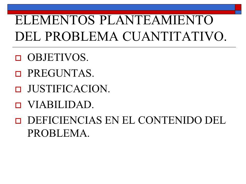 ELEMENTOS PLANTEAMIENTO DEL PROBLEMA CUANTITATIVO. OBJETIVOS. PREGUNTAS. JUSTIFICACION. VIABILIDAD. DEFICIENCIAS EN EL CONTENIDO DEL PROBLEMA.
