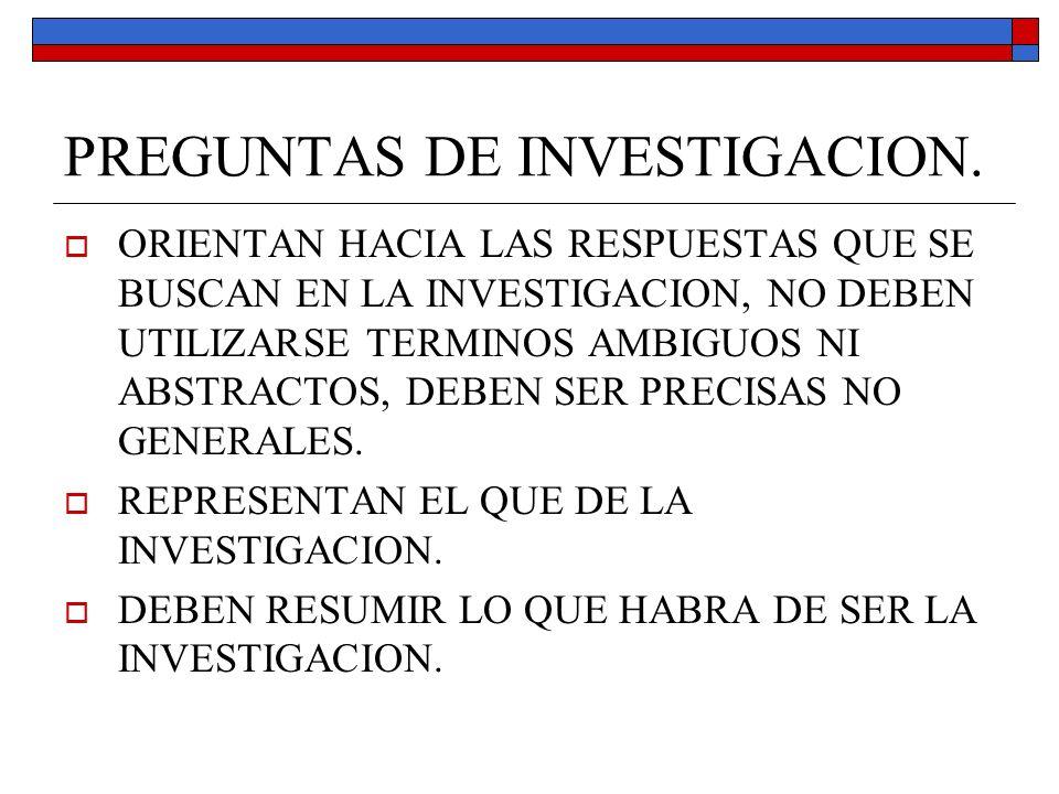 REQUISITOS DE LAS PREGUNTAS SEGÚN LEON Y MONTERO 2003.