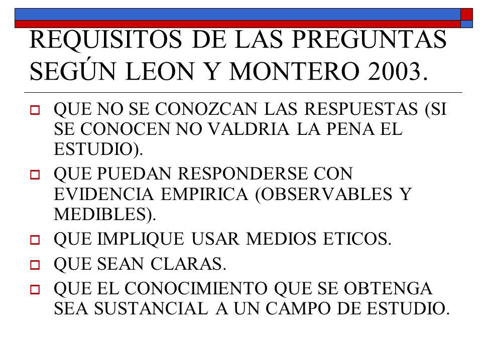 REQUISITOS DE LAS PREGUNTAS SEGÚN LEON Y MONTERO 2003. QUE NO SE CONOZCAN LAS RESPUESTAS (SI SE CONOCEN NO VALDRIA LA PENA EL ESTUDIO). QUE PUEDAN RES