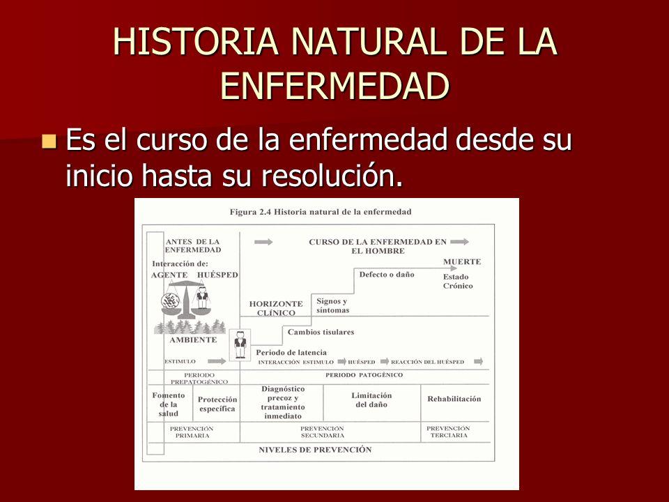 HISTORIA NATURAL DE LA ENFERMEDAD Es el curso de la enfermedad desde su inicio hasta su resolución. Es el curso de la enfermedad desde su inicio hasta