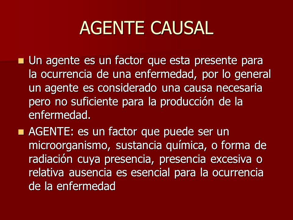 AGENTE CAUSAL Un agente es un factor que esta presente para la ocurrencia de una enfermedad, por lo general un agente es considerado una causa necesar