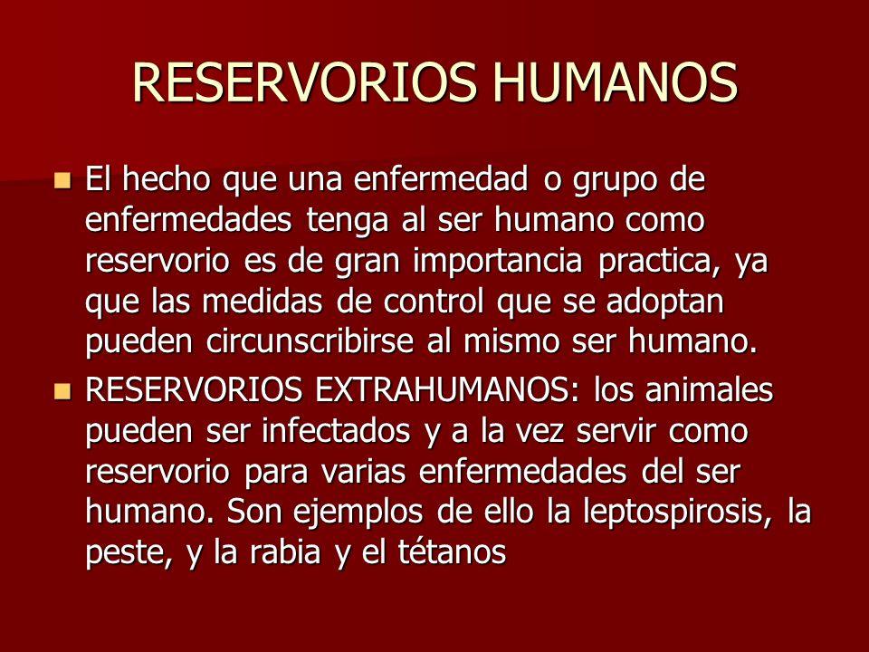 RESERVORIOS HUMANOS El hecho que una enfermedad o grupo de enfermedades tenga al ser humano como reservorio es de gran importancia practica, ya que la