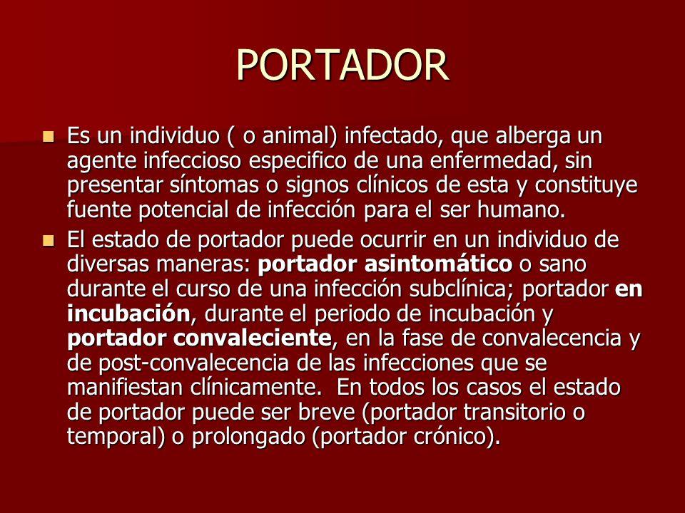 PORTADOR Es un individuo ( o animal) infectado, que alberga un agente infeccioso especifico de una enfermedad, sin presentar síntomas o signos clínico