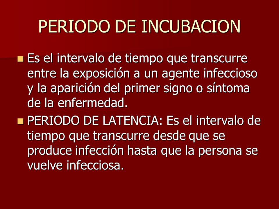 PERIODO DE INCUBACION Es el intervalo de tiempo que transcurre entre la exposición a un agente infeccioso y la aparición del primer signo o síntoma de