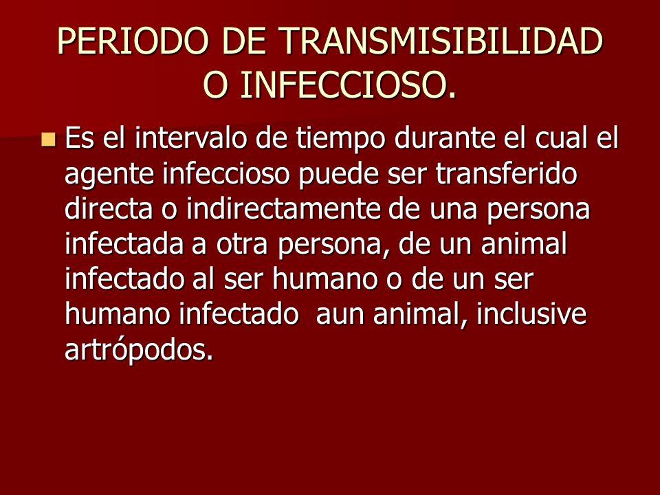 PERIODO DE TRANSMISIBILIDAD O INFECCIOSO. Es el intervalo de tiempo durante el cual el agente infeccioso puede ser transferido directa o indirectament