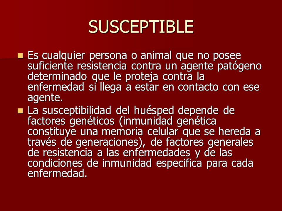 SUSCEPTIBLE Es cualquier persona o animal que no posee suficiente resistencia contra un agente patógeno determinado que le proteja contra la enfermeda