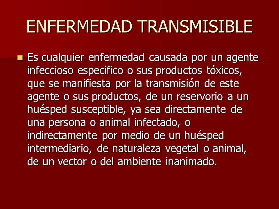 ENFERMEDAD TRANSMISIBLE Es cualquier enfermedad causada por un agente infeccioso especifico o sus productos tóxicos, que se manifiesta por la transmis