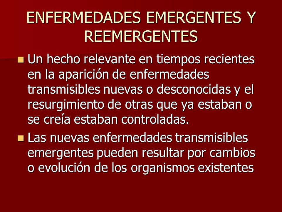 ENFERMEDADES EMERGENTES Y REEMERGENTES Un hecho relevante en tiempos recientes en la aparición de enfermedades transmisibles nuevas o desconocidas y e