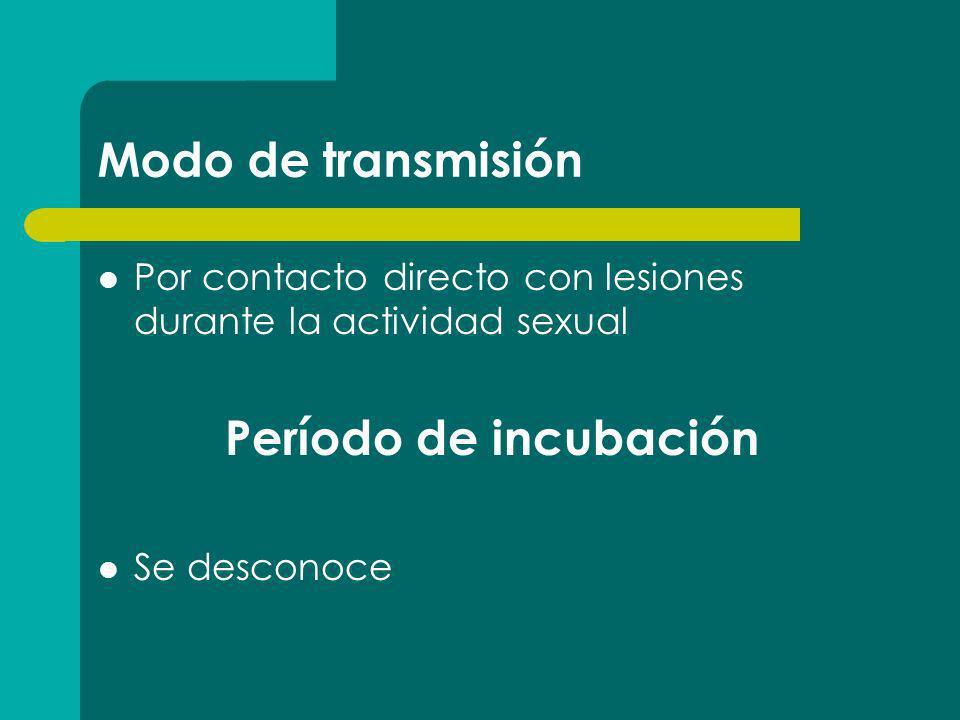 Modo de transmisión Por contacto directo con lesiones durante la actividad sexual Período de incubación Se desconoce