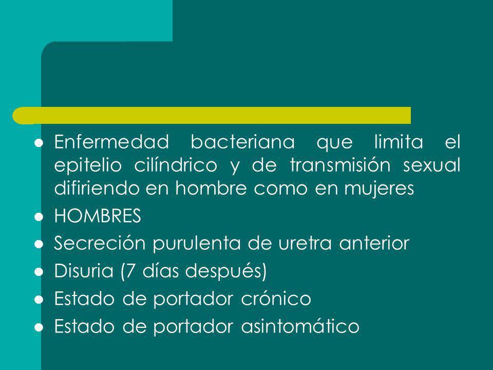 Enfermedad bacteriana que limita el epitelio cilíndrico y de transmisión sexual difiriendo en hombre como en mujeres HOMBRES Secreción purulenta de ur