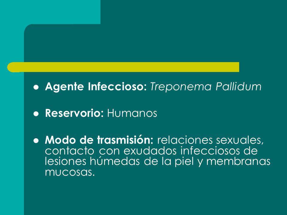 Agente Infeccioso: Treponema Pallidum Reservorio: Humanos Modo de trasmisión: relaciones sexuales, contacto con exudados infecciosos de lesiones húmed