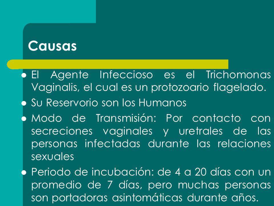 Causas El Agente Infeccioso es el Trichomonas Vaginalis, el cual es un protozoario flagelado. Su Reservorio son los Humanos Modo de Transmisión: Por c