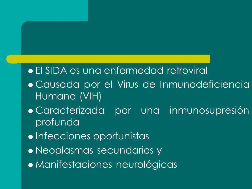 El SIDA es una enfermedad retroviral Causada por el Virus de Inmunodeficiencia Humana (VIH) Caracterizada por una inmunosupresión profunda Infecciones