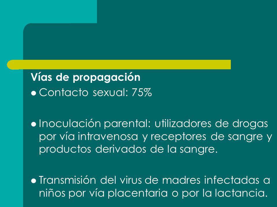 Vías de propagación Contacto sexual: 75% Inoculación parental: utilizadores de drogas por vía intravenosa y receptores de sangre y productos derivados