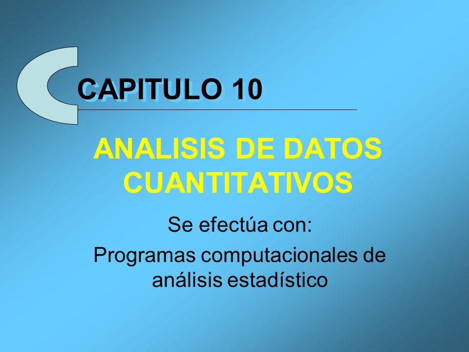 Procedimiento para Analizar Datos 1.Seleccionar el programa estadístico 2.