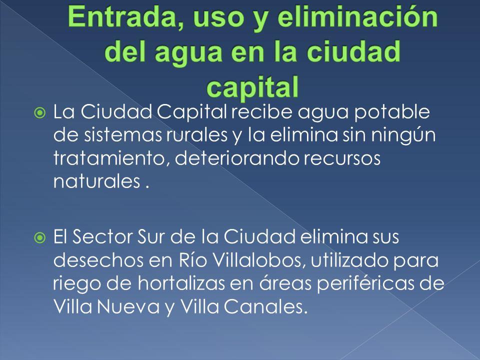 La Ciudad Capital recibe agua potable de sistemas rurales y la elimina sin ningún tratamiento, deteriorando recursos naturales. El Sector Sur de la Ci