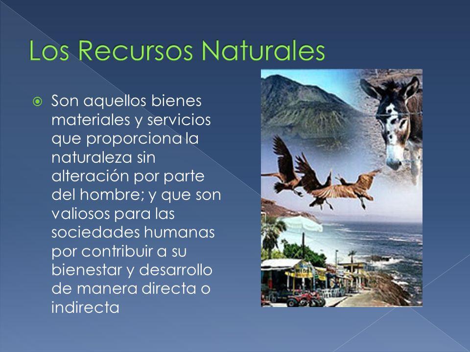 Son aquellos bienes materiales y servicios que proporciona la naturaleza sin alteración por parte del hombre; y que son valiosos para las sociedades h