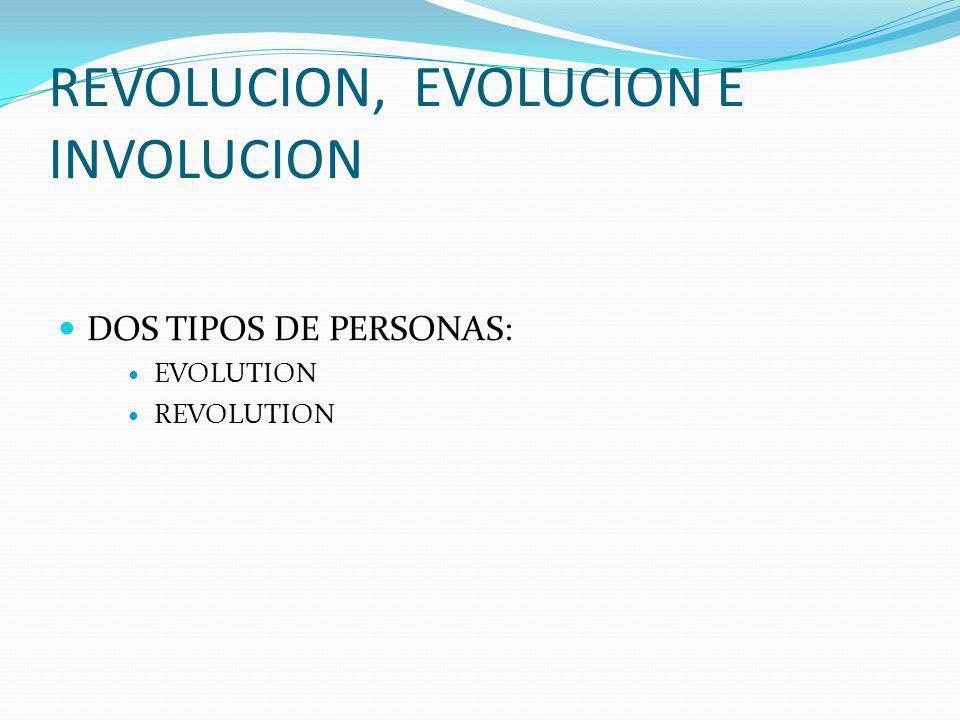 REVOLUCION, EVOLUCION E INVOLUCION DOS TIPOS DE PERSONAS: EVOLUTION REVOLUTION
