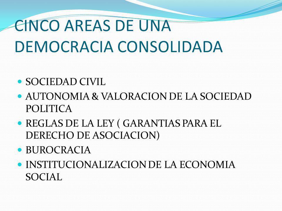 CINCO AREAS DE UNA DEMOCRACIA CONSOLIDADA SOCIEDAD CIVIL AUTONOMIA & VALORACION DE LA SOCIEDAD POLITICA REGLAS DE LA LEY ( GARANTIAS PARA EL DERECHO DE ASOCIACION) BUROCRACIA INSTITUCIONALIZACION DE LA ECONOMIA SOCIAL