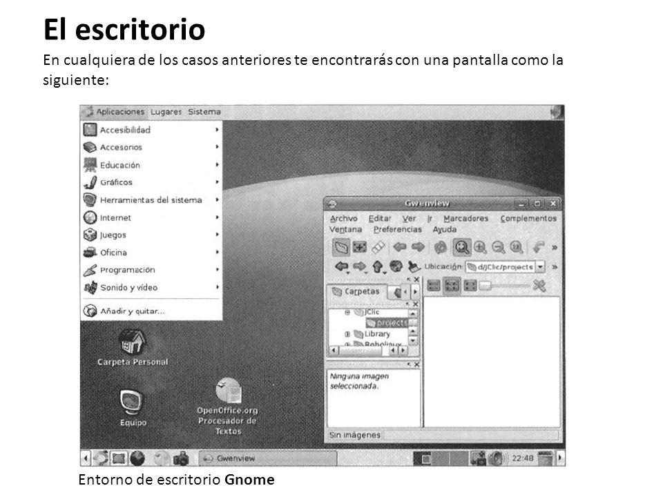 El escritorio En cualquiera de los casos anteriores te encontrarás con una pantalla como la siguiente: Entorno de escritorio Gnome