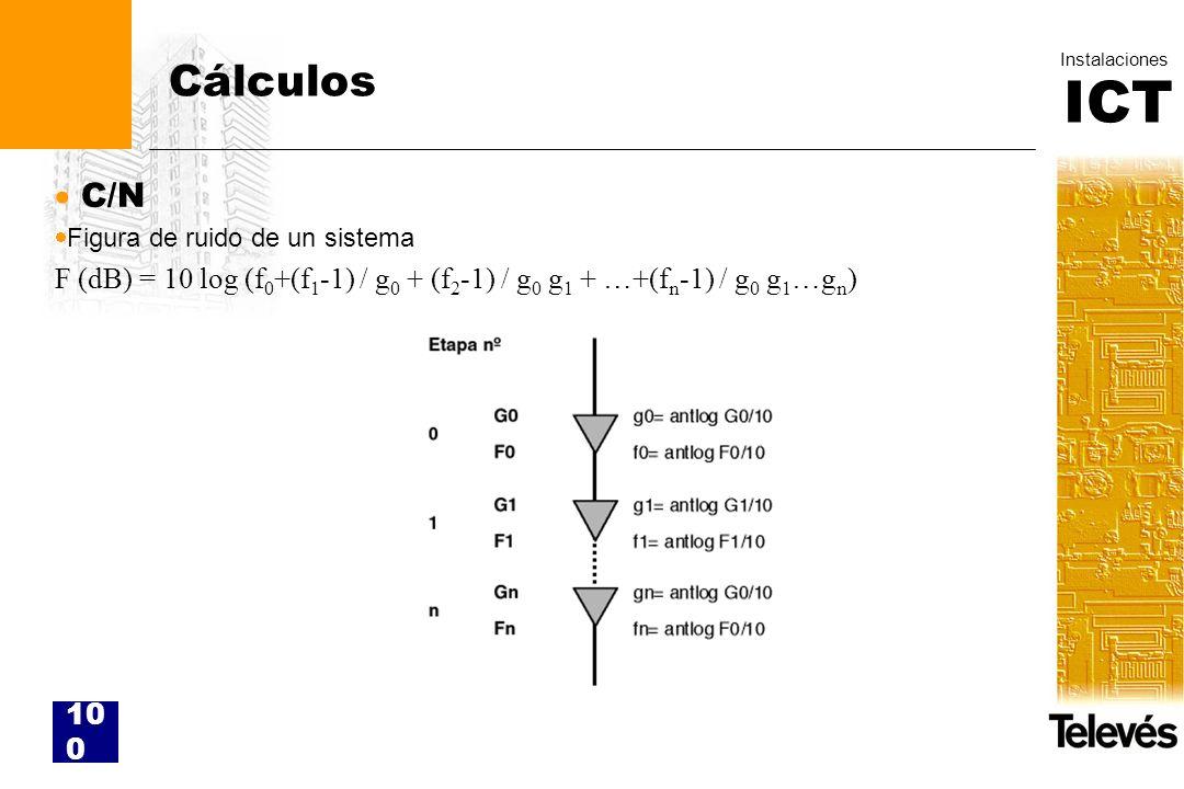 ICT Instalaciones 100 Cálculos C/N Figura de ruido de un sistema F (dB) = 10 log (f 0 +(f 1 -1) / g 0 + (f 2 -1) / g 0 g 1 + …+(f n -1) / g 0 g 1 …g n