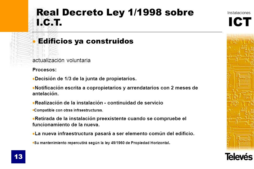 ICT Instalaciones 13 Real Decreto Ley 1/1998 sobre I.C.T. Edificios ya construidos actualización voluntaria Procesos: Decisión de 1/3 de la junta de p