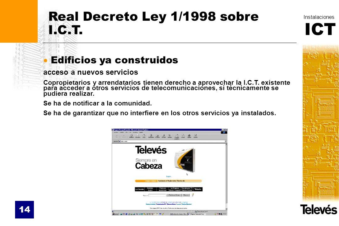 ICT Instalaciones 14 Real Decreto Ley 1/1998 sobre I.C.T. Edificios ya construidos acceso a nuevos servicios Copropietarios y arrendatarios tienen der