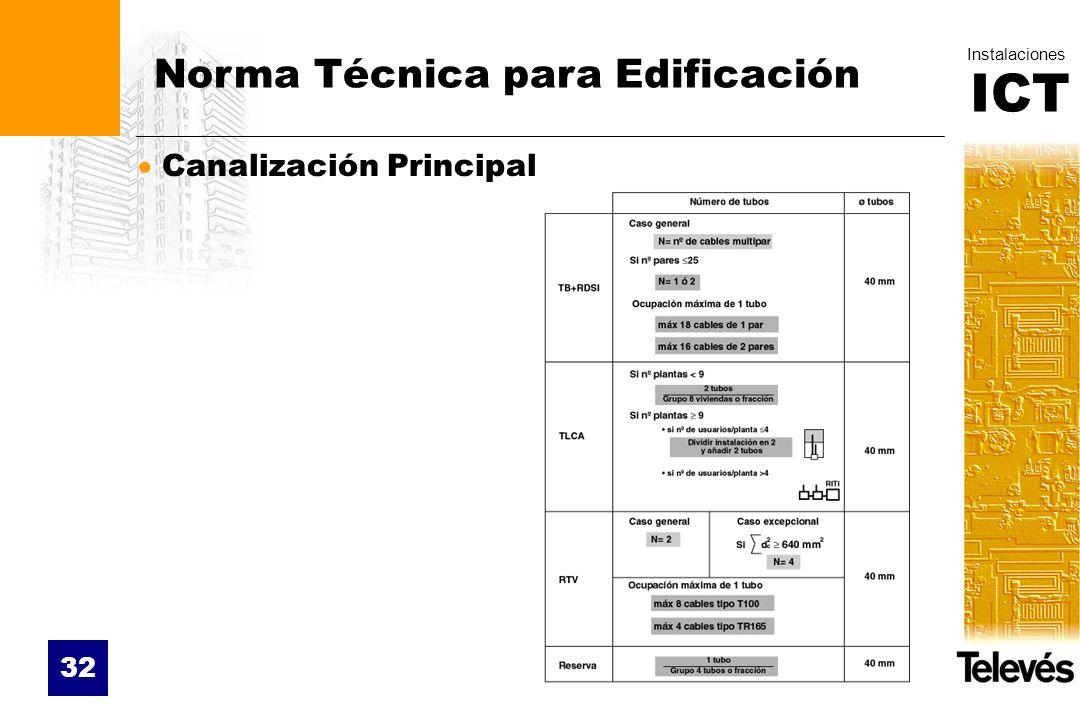 ICT Instalaciones 32 Norma Técnica para Edificación Canalización Principal